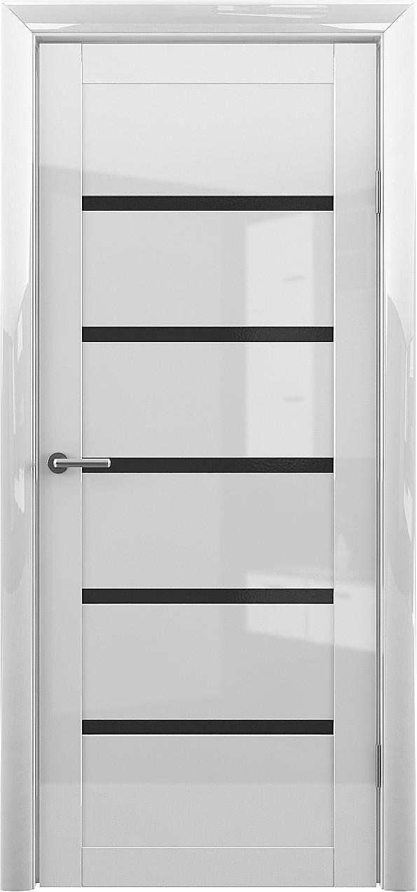 Глянцевая дверь Вена с черным стеклом