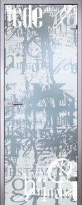Стеклянная дверь Графити