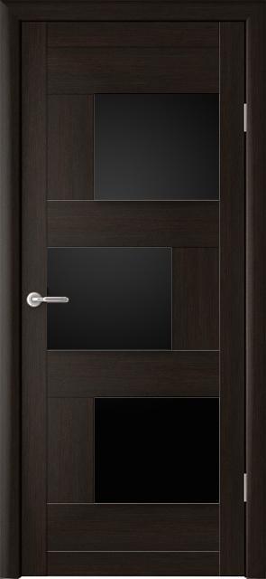 Межкомнатная дверь Стокгольм с черным стеклом