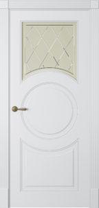 """Межкомнатная дверь Лацио-1 стекло Ромб эмаль """"Белый шелк"""""""