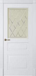 """Межкомнатная дверь Лацио-3 стекло Ромб эмаль """"Белый шелк"""""""