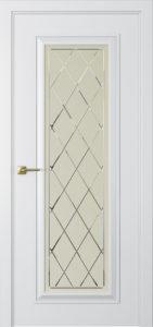 """Межкомнатная дверь Мадрид-1 стекло Ромб эмаль """"Латте"""""""