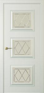 """Межкомнатная дверь Мадрид-3 стекло Ромб эмаль """"Серый шелк"""""""