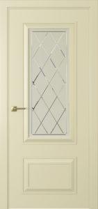 """Межкомнатная дверь Мадрид-2 стекло Решетка эмаль """"Белый шелк"""""""